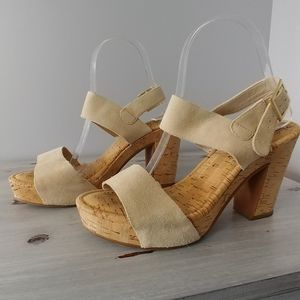 Suede and cork chunky heeled sandals
